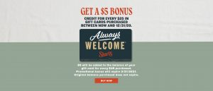 Get a $5 bonus credit for every $25 in gift cards spent before 12/31/20